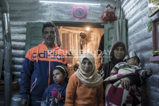 Family living in refugee camp
